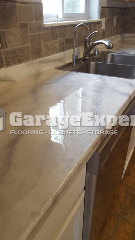 Metallic Epoxy Faux Marble Countertops In Anchorage, AK