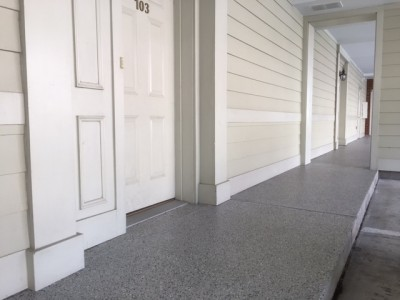 Multi-Unit walkway in Norfolk coated with our Epoxy Floor system!